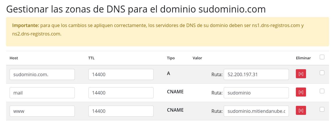 Tienda Nube - configuración de dominio
