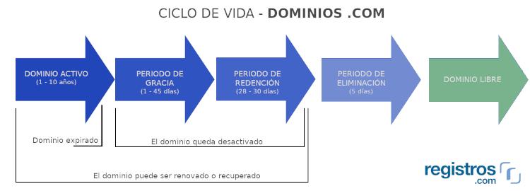 Proceso de eliminación dominios .com