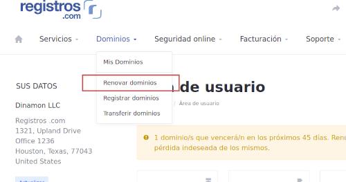 Renovar dominio registros.com