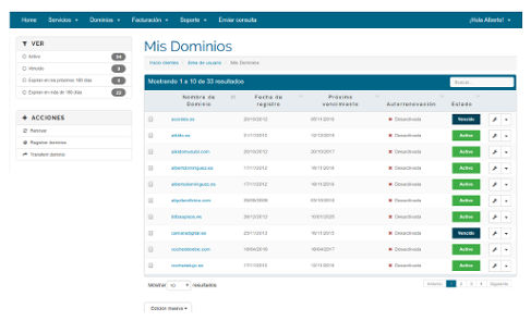 Gestion dominios registros.com